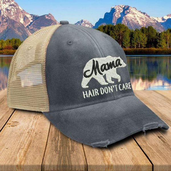 Mama Bear Hair Don't Care Premium Trucker Hat Hat Edge Navy