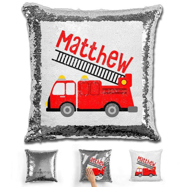 Firetruck Personalized Magic Sequin Pillow Pillow GLAM Silver