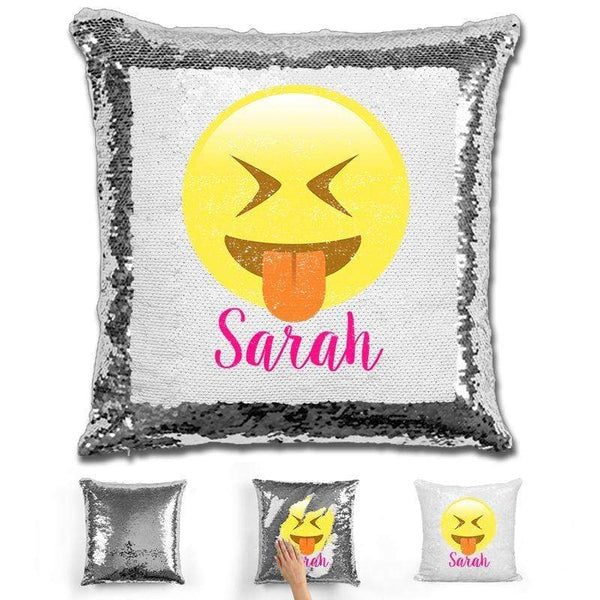 Squinting Eyes Emoji Personalized Magic Sequin Pillow Pillow GLAM Silver