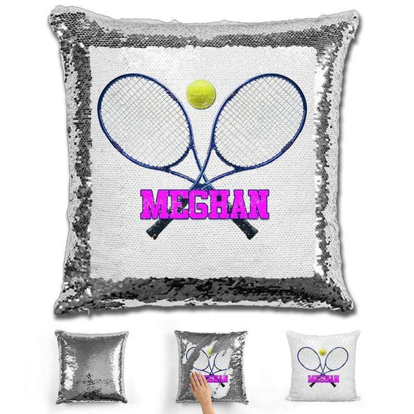 Tennis Personalized Magic Sequin Pillow Pillow GLAM Silver Pink