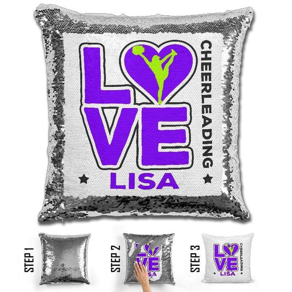 Personalized LOVE Cheer Magic Sequin Pillow Pillow GLAM Purple