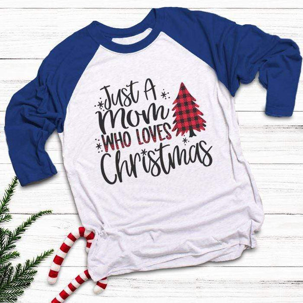 Mom Who Loves Christmas Raglan T-Shirts CustomCat White/Royal X-Small