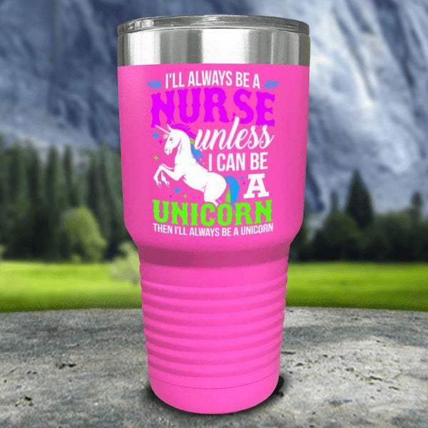 Nurse Unicorn Color Printed Tumblers Tumbler Nocturnal Coatings 30oz Tumbler Pink