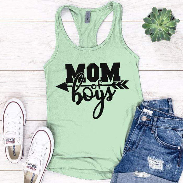 Mom Of The Boys Premium Tank Tops Apparel Edge Minty S