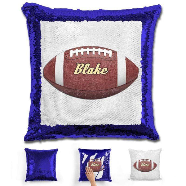 Football Personalized Magic Sequin Pillow Pillow GLAM Blue