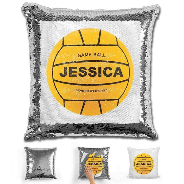 Water Polo Personalized Magic Sequin Pillow Pillow GLAM Silver