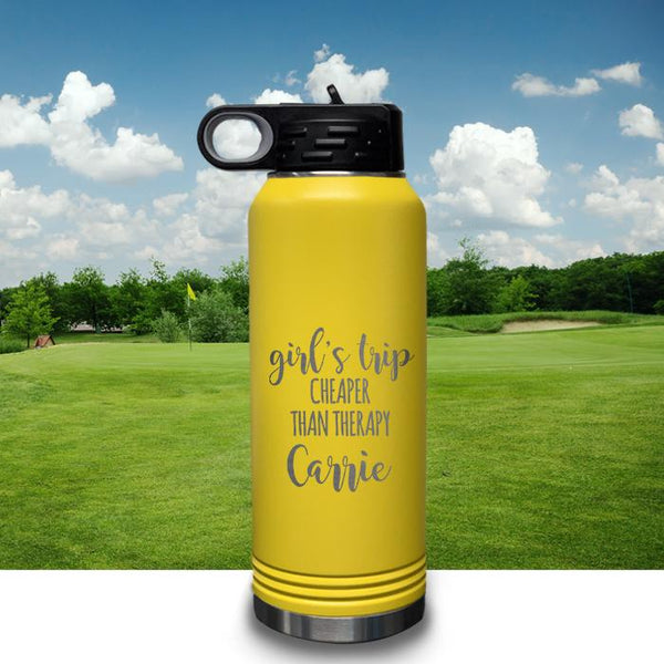 PERSONALIZED Girls Trip Cheaper Than Therapy Engraved 32oz Sport Bottle