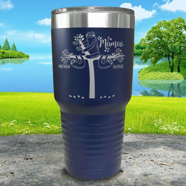 Sloth Mama (CUSTOM) With Child's Name Engraved Tumblers Tumbler ZLAZER 30oz Tumbler Navy