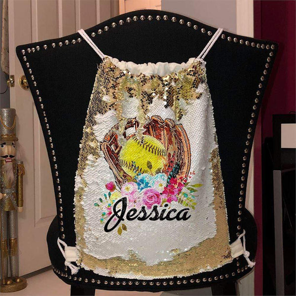 Softball Glove Personalized Magic Sequin Backpacks Sequin Backpack BLINGZ Gold