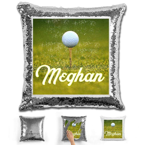 Golf Personalized Flip Sequin Pillow Pillow GLAM Silver