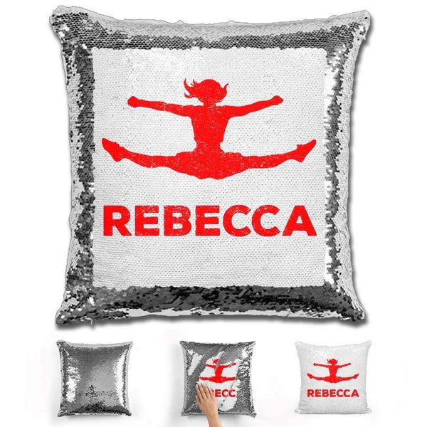 Competitive Cheerleader Personalized Magic Sequin Pillow Pillow GLAM Silver Red