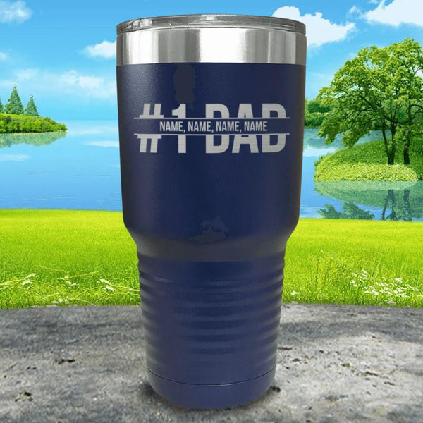 #1 Dad (CUSTOM) With Child's Name Engraved Tumbler Tumbler ZLAZER 30oz Tumbler Navy