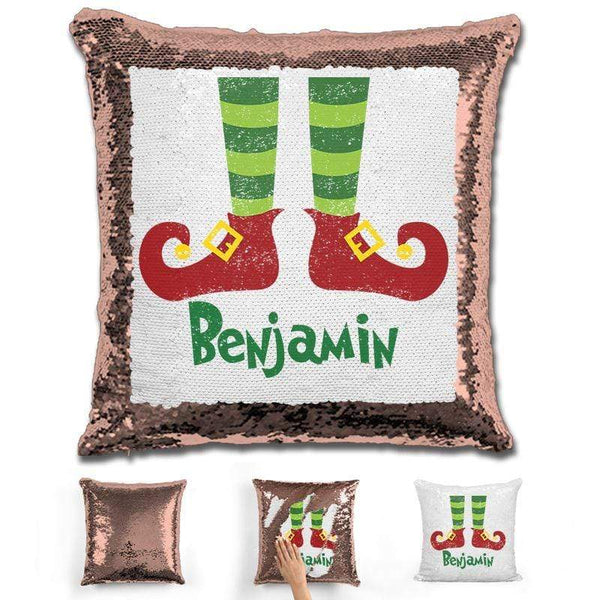 Personalized Elf Legs Christmas Magic Sequin Pillow Pillow GLAM Rose Gold