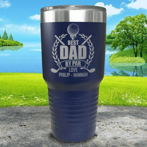 CUSTOM Best Dad By Par Engraved Tumblers Tumbler ZLAZER 30oz Tumbler Navy
