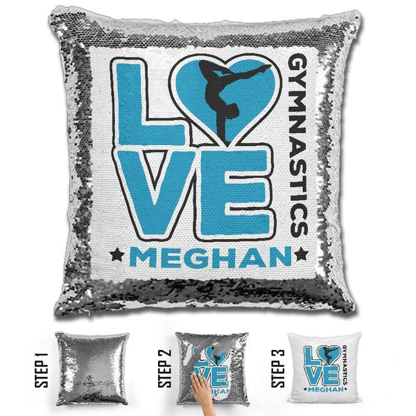 Personalized LOVE Gymnastics Magic Sequin Pillow Pillow GLAM Light Blue