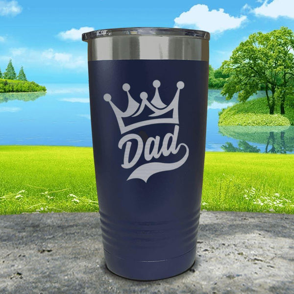 King Dad Engraved Tumbler Tumbler ZLAZER 20oz Tumbler Navy