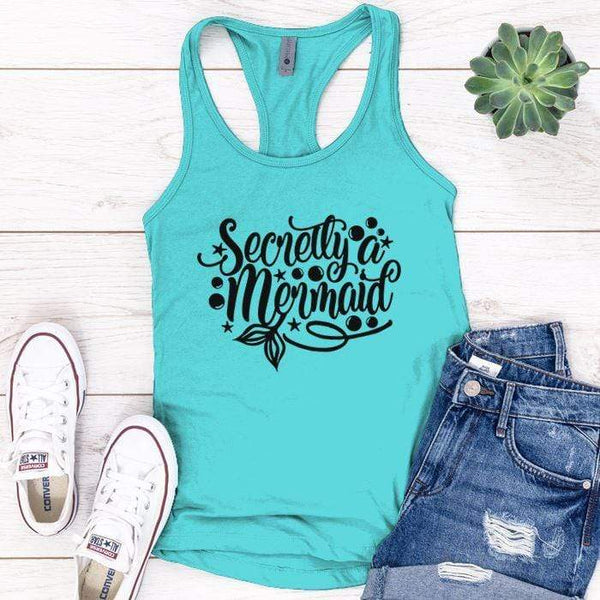 Secretly Mermaid Premium Tank Tops Apparel Edge Tahiti Blue S
