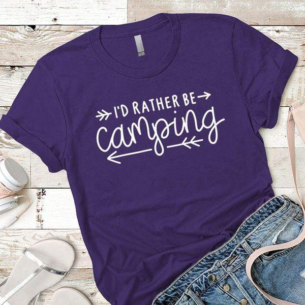 I'd Rather Be Camping Arrows Premium Tees T-Shirts CustomCat Purple Rush/ X-Small
