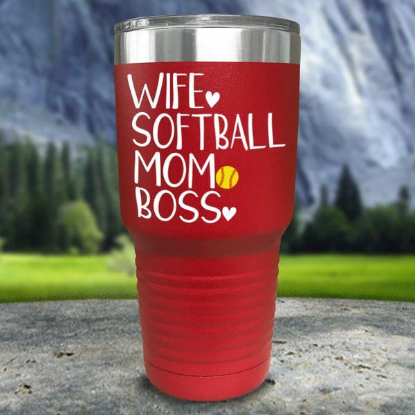 Wife Softball Mom Boss Color Printed Tumblers Tumbler Nocturnal Coatings 30oz Tumbler Red