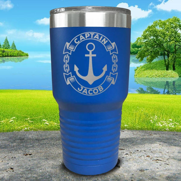 Captain Anchor (CUSTOM) Engraved Tumbler Tumbler ZLAZER 30oz Tumbler Lemon Blue