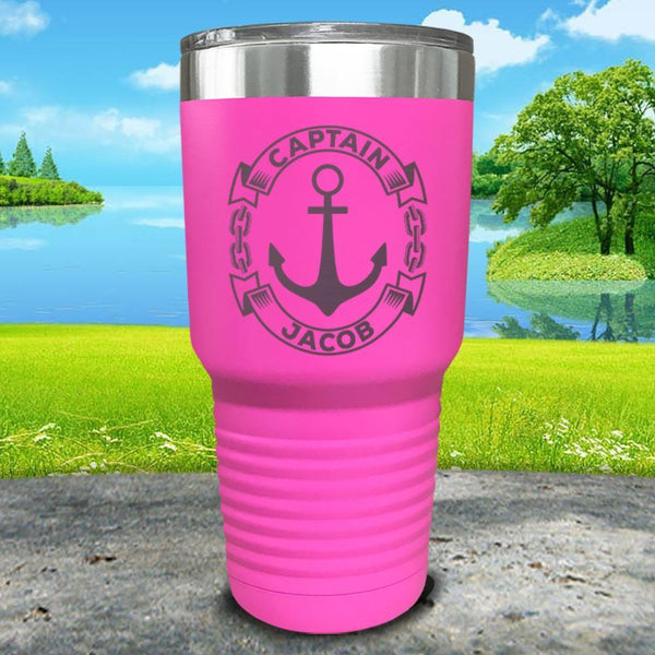 Captain Anchor (CUSTOM) Engraved Tumbler Tumbler ZLAZER 30oz Tumbler Pink