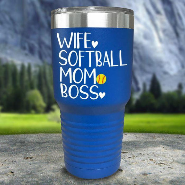 Wife Softball Mom Boss Color Printed Tumblers Tumbler Nocturnal Coatings 30oz Tumbler Blue