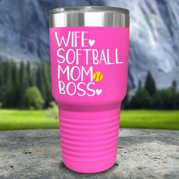 Wife Softball Mom Boss Color Printed Tumblers Tumbler Nocturnal Coatings 30oz Tumbler Pink