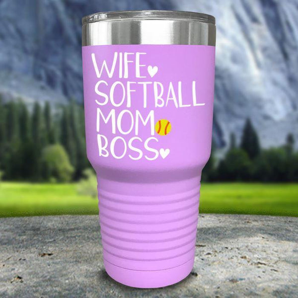 Wife Softball Mom Boss Color Printed Tumblers Tumbler Nocturnal Coatings 30oz Tumbler Lavender