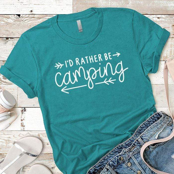 I'd Rather Be Camping Arrows Premium Tees T-Shirts CustomCat Tahiti Blue X-Small