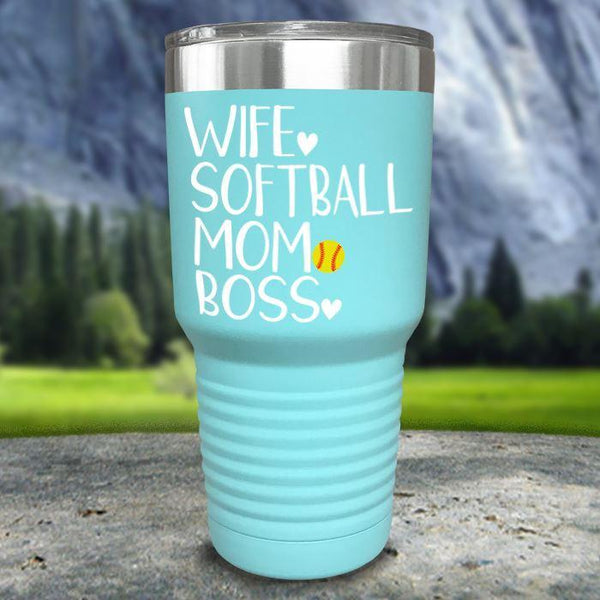 Wife Softball Mom Boss Color Printed Tumblers Tumbler Nocturnal Coatings 30oz Tumbler Mint