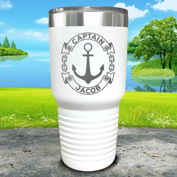 Captain Anchor (CUSTOM) Engraved Tumbler Tumbler ZLAZER 30oz Tumbler White