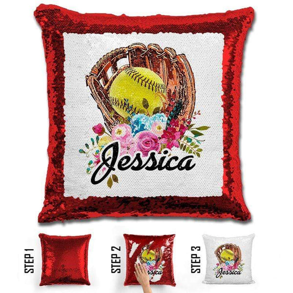 NEW Custom Softball Magic Sequin Pillow Pillow GLAM Red