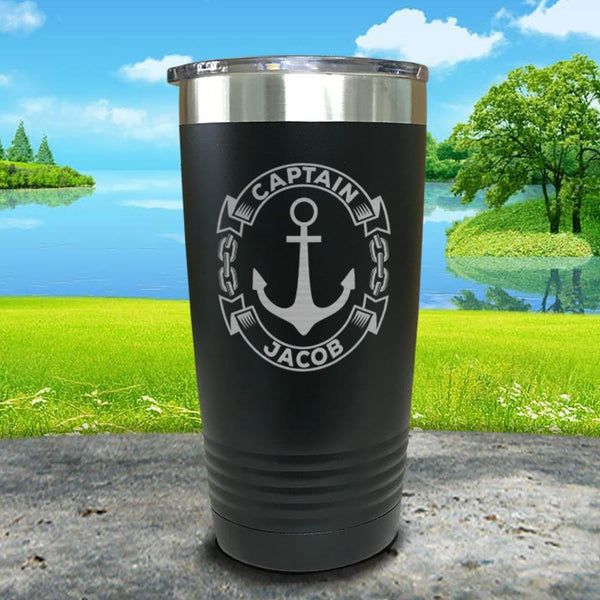 Captain Anchor (CUSTOM) Engraved Tumbler Tumbler ZLAZER 20oz Tumbler Black
