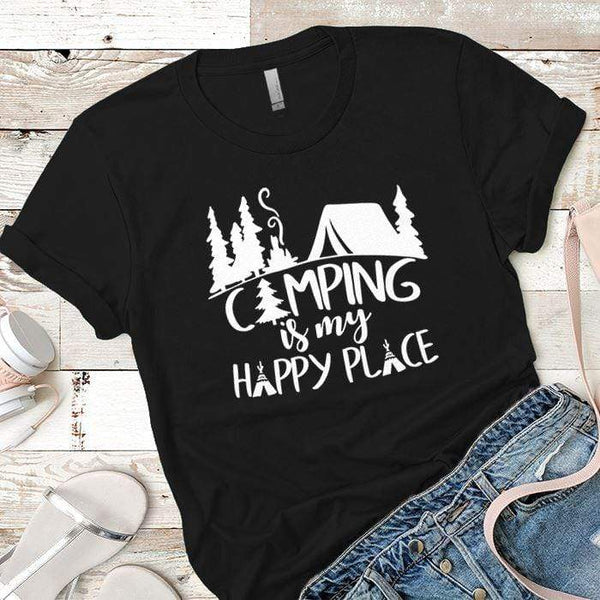 Camping Is My Happy Place 2 Premium Tees T-Shirts CustomCat Black X-Small