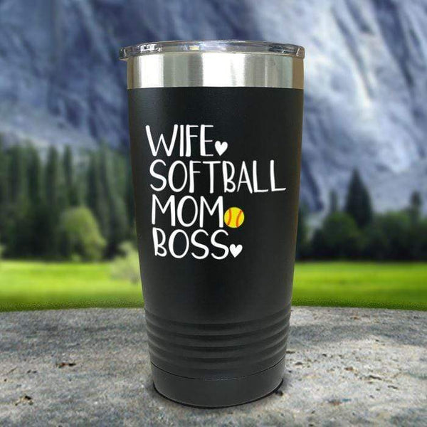 Wife Softball Mom Boss Color Printed Tumblers Tumbler Nocturnal Coatings 20oz Tumbler Black