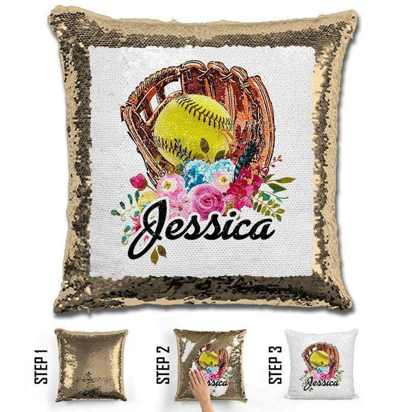 NEW Custom Softball Magic Sequin Pillow Pillow GLAM Gold