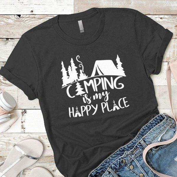 Camping Is My Happy Place 2 Premium Tees T-Shirts CustomCat Heavy Metal X-Small