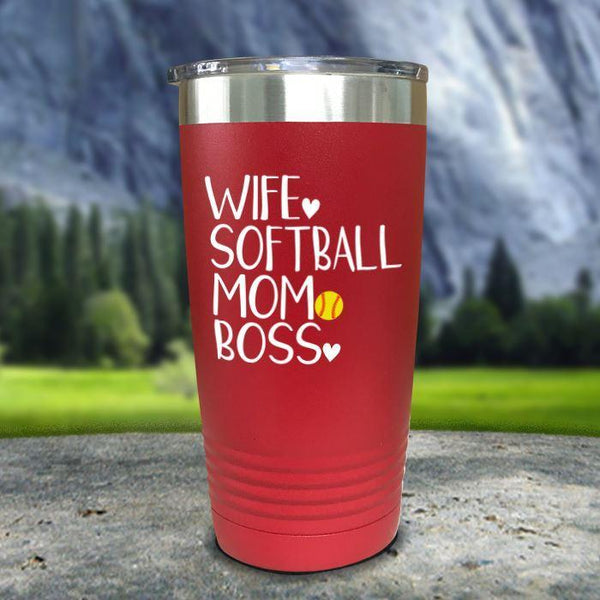 Wife Softball Mom Boss Color Printed Tumblers Tumbler Nocturnal Coatings 20oz Tumbler Red