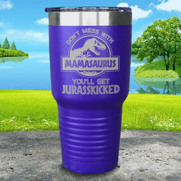 Don't Messed With Mamasaurus Engraved Tumblers Tumbler ZLAZER 30oz Tumbler Royal Purple