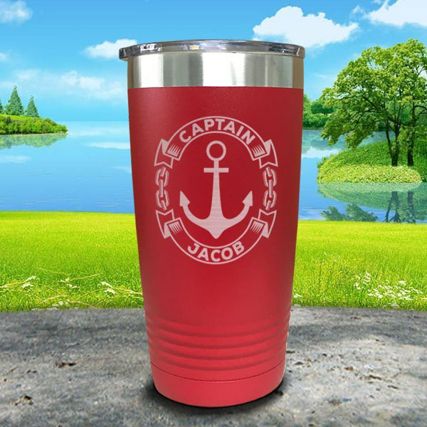 Captain Anchor (CUSTOM) Engraved Tumbler Tumbler ZLAZER 20oz Tumbler Red