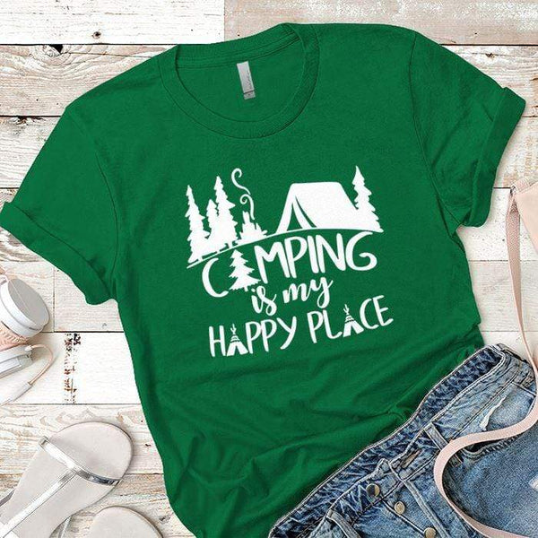 Camping Is My Happy Place 2 Premium Tees T-Shirts CustomCat Kelly Green X-Small