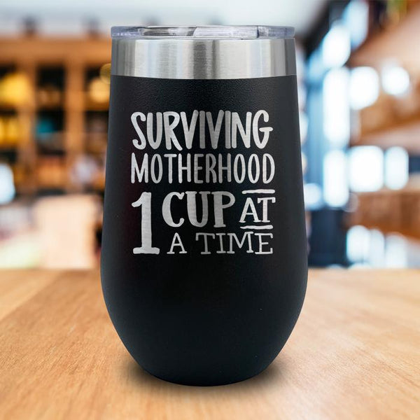 Surviving Motherhood Engraved Wine Tumbler