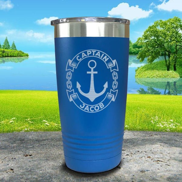 Captain Anchor (CUSTOM) Engraved Tumbler Tumbler ZLAZER 20oz Tumbler Lemon Blue