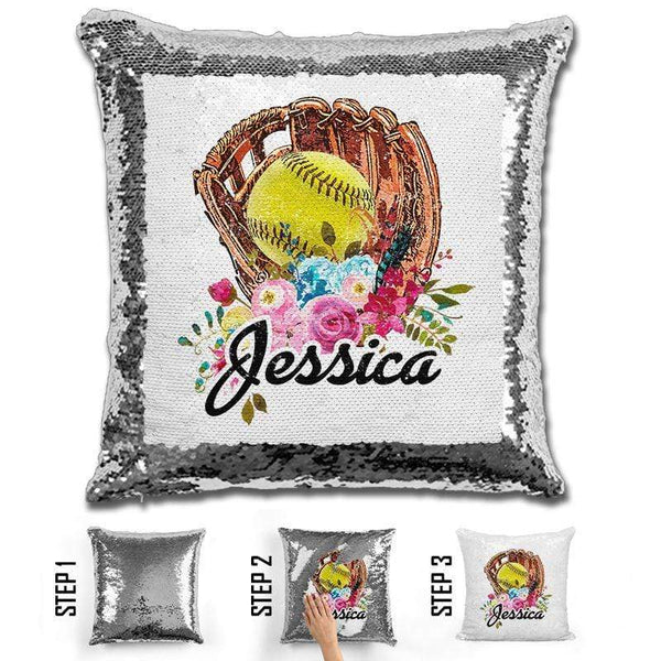 NEW Custom Softball Magic Sequin Pillow Pillow GLAM Silver