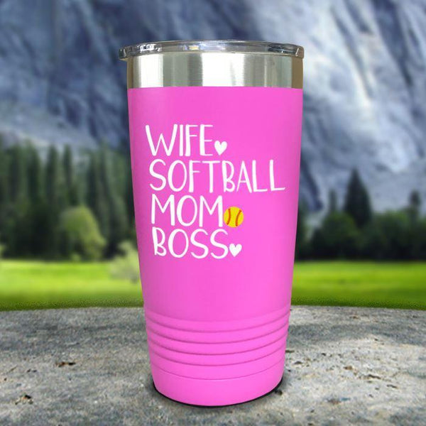 Wife Softball Mom Boss Color Printed Tumblers Tumbler Nocturnal Coatings 20oz Tumbler Pink