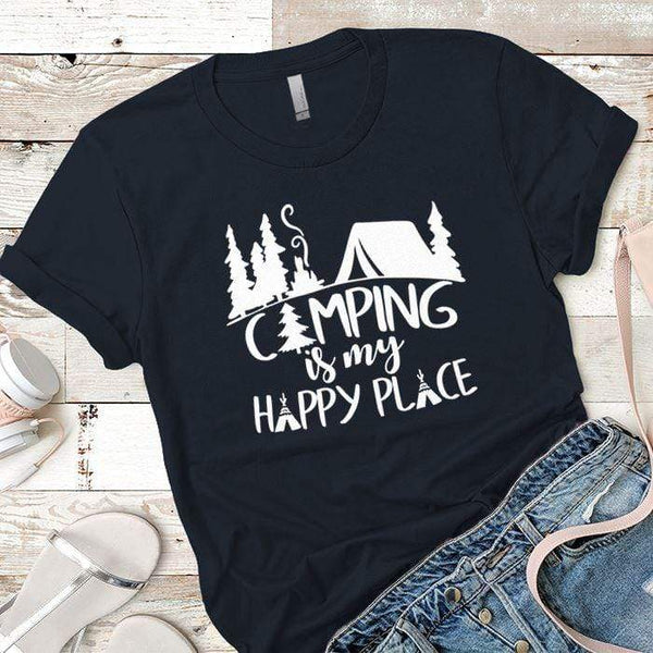 Camping Is My Happy Place 2 Premium Tees T-Shirts CustomCat Midnight Navy X-Small