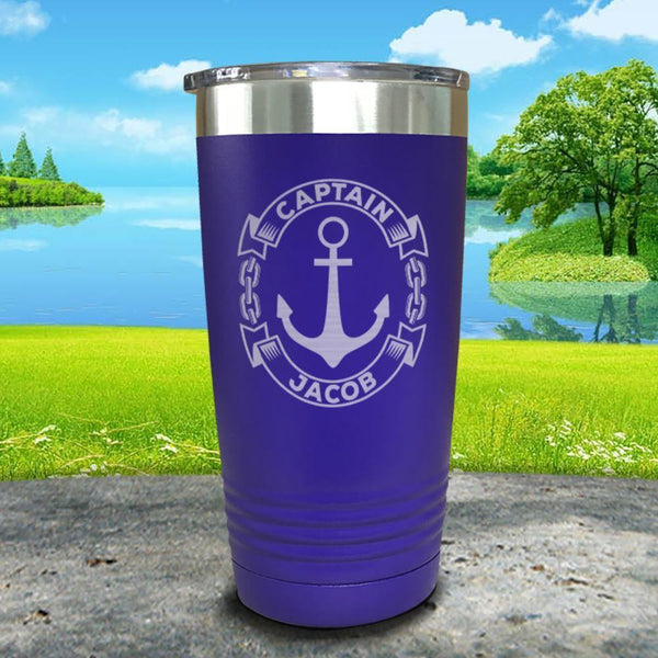 Captain Anchor (CUSTOM) Engraved Tumbler Tumbler ZLAZER 20oz Tumbler Royal Purple
