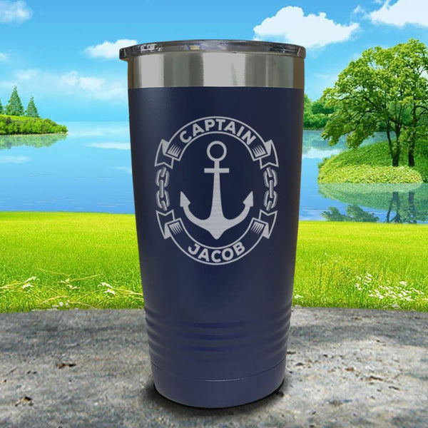 Captain Anchor (CUSTOM) Engraved Tumbler Tumbler ZLAZER 20oz Tumbler Navy