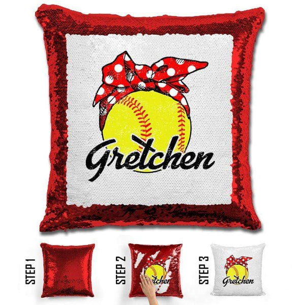 CUSTOM Bandana Softball Magic Sequin Pillow Pillow BLINGZ Red