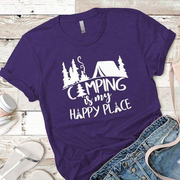 Camping Is My Happy Place 2 Premium Tees T-Shirts CustomCat Purple Rush/ X-Small